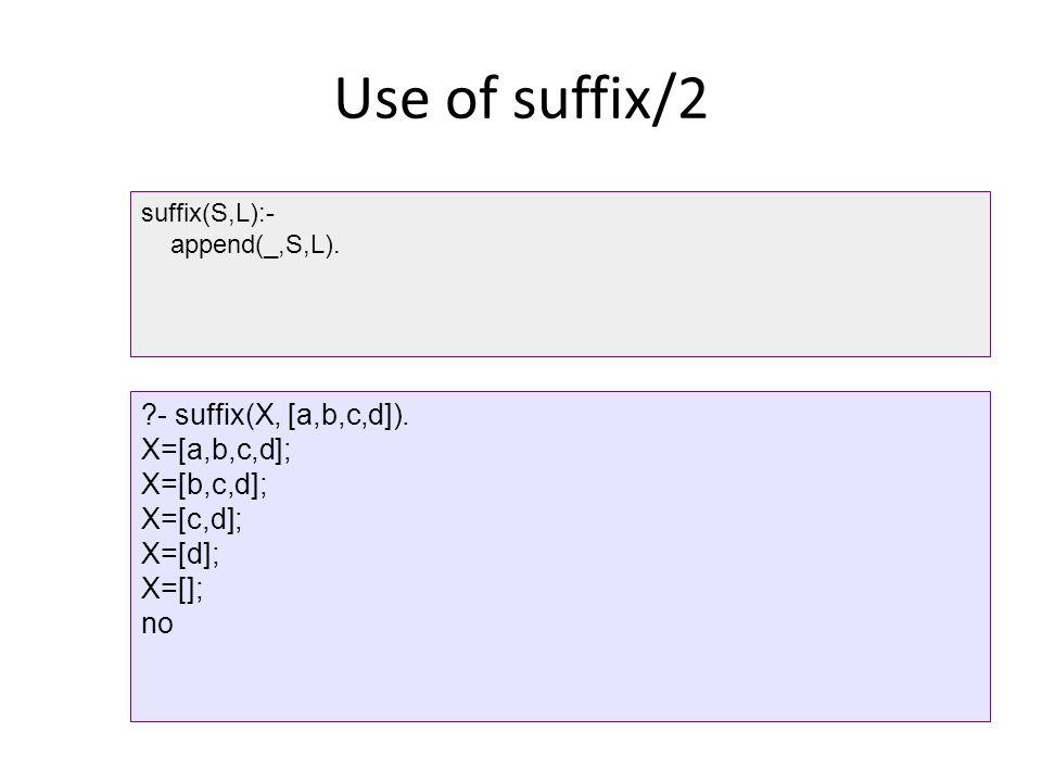 Use of suffix/2 - suffix(X, [a,b,c,d]). X=[a,b,c,d]; X=[b,c,d];